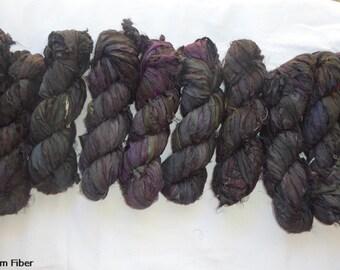2 for 20 Solid Black Recycled Sari Silk Ribbon Yarn, 3.5 oz,  55 yards Each, Upcycled, Bulky, Ebony, Jet Black, Craft, Knit, Crochet, Weave