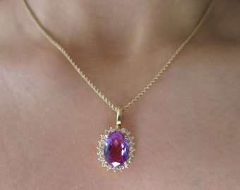 14k Yellow gold Amethyst and diamonds pendent