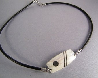 Elk Antler Necklace SHIPS IMMEDIATELY Handmade Inlaid Elk Antler Leather Choker