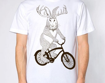 Jackalope on a bike t shirt- american apparel white- sizes S, M, L and XL- WorldWide Shipping