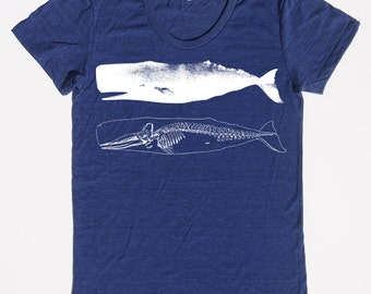 womens whale and skeleton shirt- American Apparel tri indigo track shirt- available in s,m, l, xl -WorldWide Shipping