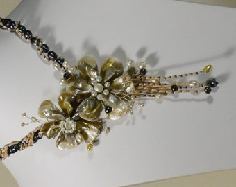 Statement Necklace Wire Flower Necklace Wedding or Special Occasion