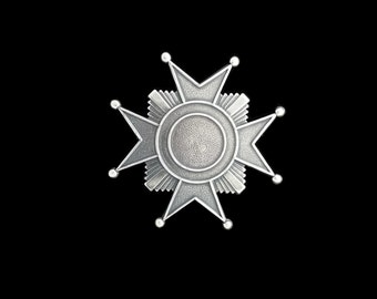 Silver Plated Brass Victoria Cross Medal Star Sheriff Badge Stamping 60mm x 17mm Perfect for Steampunk Art Made in the USA Brass
