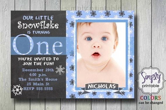 1st Birthday Invitation, Snowflake Invite, Our Little Snowflake, Printable Digital File