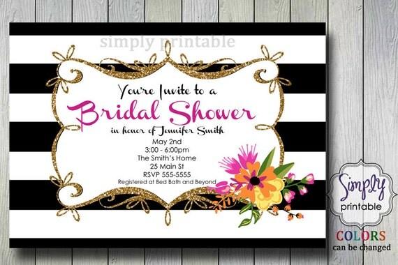 Bridal Shower Invite - Black White Gold Floral