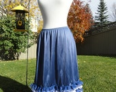 Flirty, Lacey White and Navy Blue on Navy Blue Underskirt Slip Upcycled Altered Couture