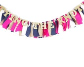 Nautical Bridal Shower Decor - Banner for Wedding Shower - Hot Pink, Navy, Gold, Burlap - Garland - Bunting