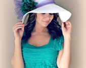 Tropic Beauty - White Floppy Hat with Big Teal Turquoise Blue Dahlia Flower Purple Bow Kentucky Derby Race Church Wedding Beach Garden Party