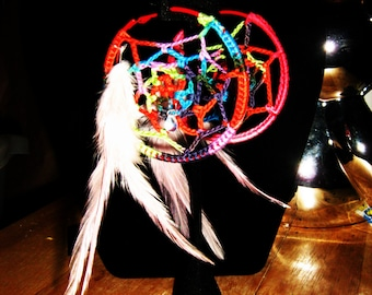 Crochet Rainbow Dreamcatcher Hoop Earrings