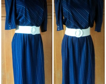 Vintage 70s Dress Secretary Puff Sleeve Day Dress Office Girl Casual Pinstripe Navy Dress M 38 bust