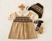 Knitted baby dress, cap and socks camel/brown jacquard. 100% merino wool. READY TO SHIP size newborn