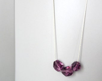 Perse - Purple Amethyst and Crystal Sterling Silver Multifaceted Swarovski Crystal Necklace by InfinEight