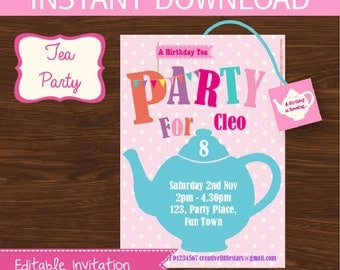 Tea Party Invitation DIY Printable Kit - INSTANT DOWNLOAD -