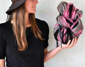 Knit Like a Mother - Big Super Bulky Grey Pink Black Yarn Handspun Thick n Thin Chunky Wool Hand Spun Knitting Supplies Crochet Supplies