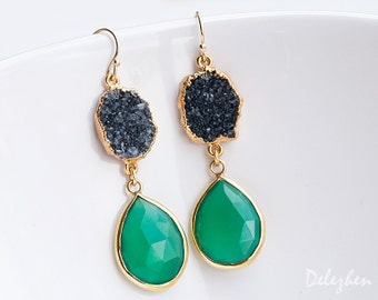 Green Onyx Earrings - Black Druzy Earrings - Drop Earrings - Statement Jewelry - Drusy Earrings - Gold Earrings
