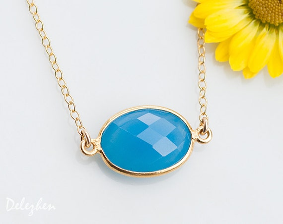 Blue Chalcedony Necklace - Layering necklace - Bezel Set Gemstone Connector Necklace - Bridesmaid Necklace - Gold Necklace