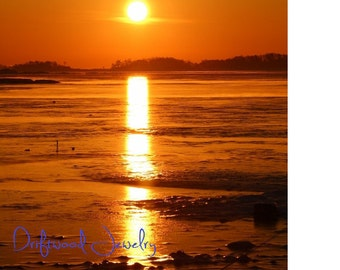 Winter Sunrise 5x7 Ivory Matted Print, Landscapes, Natural Beach Scene, Nautical Photography