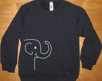 Elephant Shirt - Kids Cute Boys or Girls Long Sleeved Navy Blue - Fleece Shirt - 2T, 4T, 6, 8, 10, 12  Gift Friendly