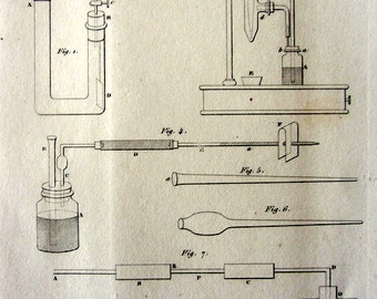 Vintage french chemistry apparatus print, antique  AIR ARSENIC PRODUCTION 1852 chemistry laboratory steel engraving, scientific apparatus