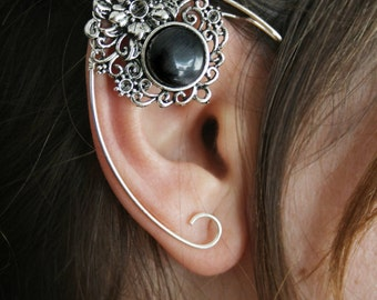 Elvish earring • ear cuff • elvish ear - black crystal