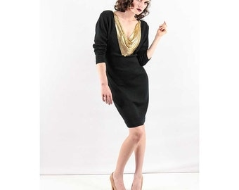 Wool knit dress / Vintage LBD / Little black dress with chain mail / Gold mesh statement necklace  M