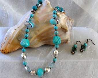 Chunky HandCrafted Turquoise and Silver and Beaded Necklace - Earring Set