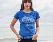 New Ladies Represent T-Shirt in Royal Blue. Vintage Style Soft Royal Blue Screenprinted Midwest Women's Tee.