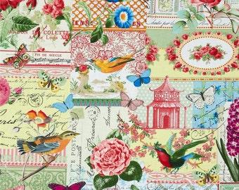 Michael Miller Menagerie Collage Multi cotton quilting fabric - quilting, apparel, butterflies, floral, paris