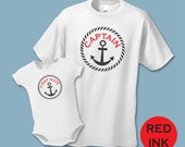 Summer Shirt Sets - Captain and First Mate  - Father Son or Father Daughter Matching Shirt Set (Set of 2) - 3 Color ways - Sibling Shirts