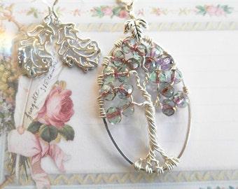 Tree of Life Necklace, OOAK, Silver Leaf Earrings
