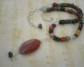 Indian summer beaded necklace, Indian agate, petrified wood, sterling silver, fancy jasper, unique jewelry by Grey Girl Designs on Etsy