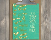 Christian Gift, Scripture art, Flying Above - Sing for Joy, Christian art print