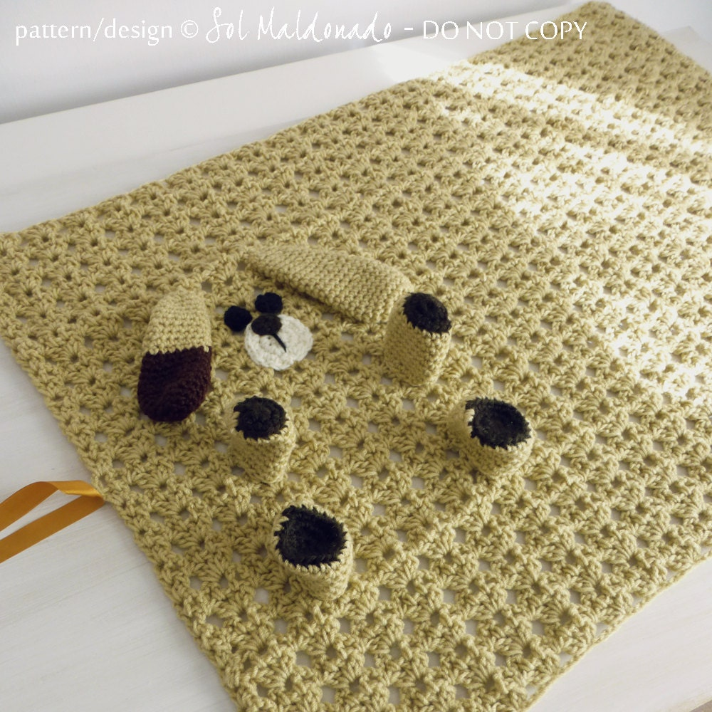 Crochet Pattern For Dog Blanket : Baby Blanket Crochet Pattern PDF Dog Puppy amigurumi toy and