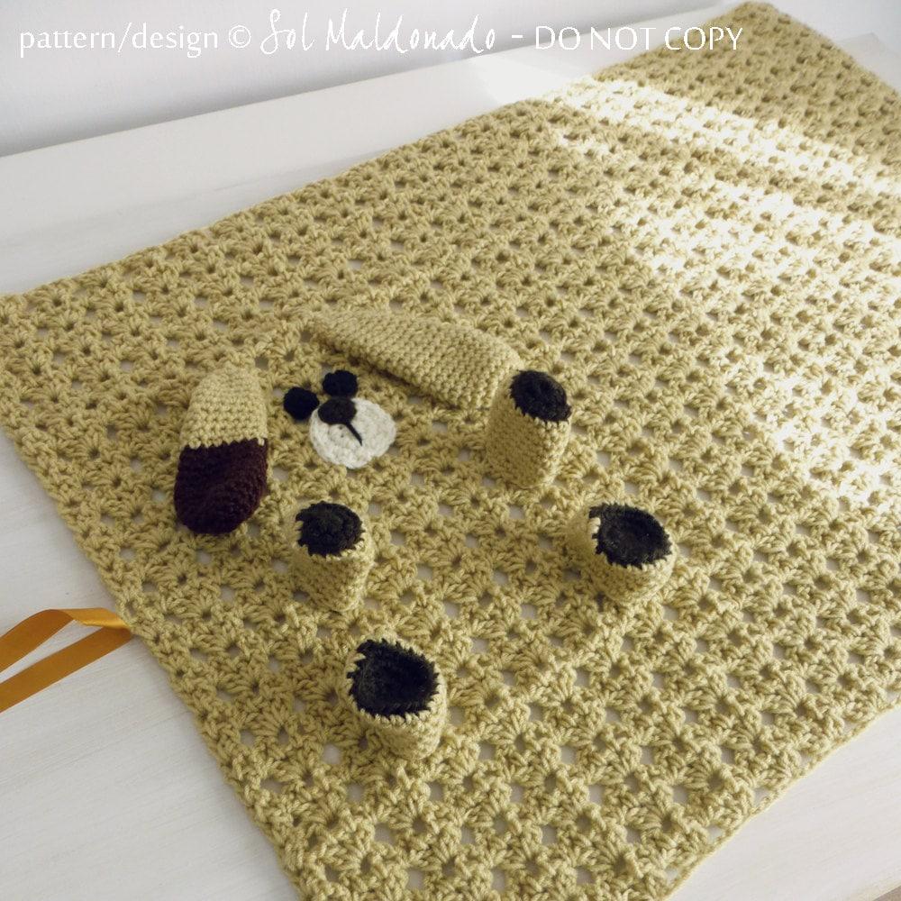 Baby Blanket Crochet Pattern PDF Dog Puppy amigurumi toy and