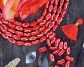 Orange Diamond Tube : Large Hole Handmade Barrel Bone Beads, 7x13mm, Natural Tribal Craft Jewelry Making Supply, Bohemian, Boho, 16 pcs