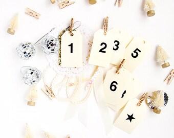 26 Handmade Advent Calendar Christmas Tags 1-25 plus a Star