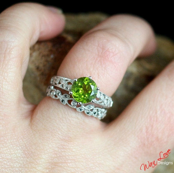 Peridot diamond engagement ring set milgrain by for Peridot wedding ring set
