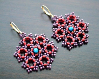 Seed Beads Beadwoven Medallion Earrings . Sterling Silver Plated Leverbacks