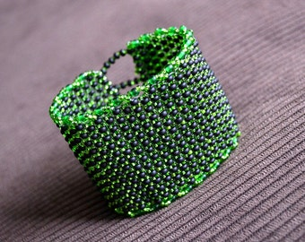 Wide Shimmery Green and Black Seed Beads Beadwoven Cuff Bracelet