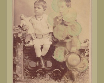A Peculiar Affliction- 1800s Antique Photograph- Ghostly Victorian Children- Green Orbs- Haunted Creepy Doll- Accidental Art- Paper Ephemera