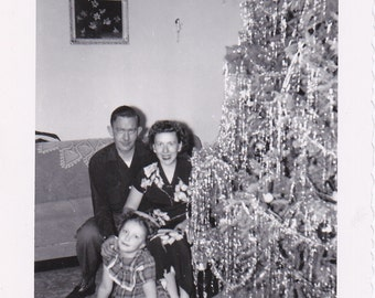 So Much Tinsel- 1950s Vintage Photograph- Living Room Christmas Tree- 50s Christmas Decor- Family Snapshot- Holiday Photo- Paper Ephemera
