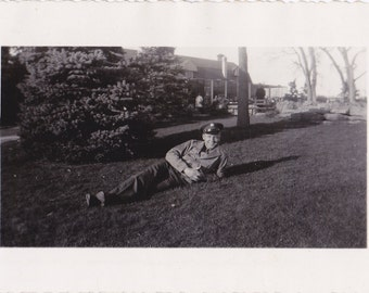 Taking It Easy- 1940s Vintage Photograph- Soldier Laying on Grass- WW2 Military- Denver, Colorado- WWII Photo- Paper Ephemera