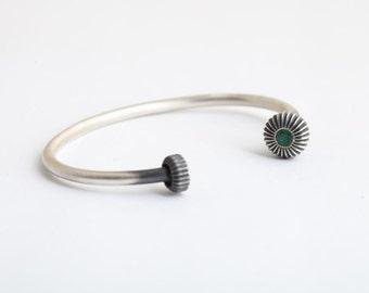Men's Open Cuff Bracelet in Sterling Silver with Emerald Finial,Cuff Bracelet, men cuff bracelet,Steampunk silver bracelet