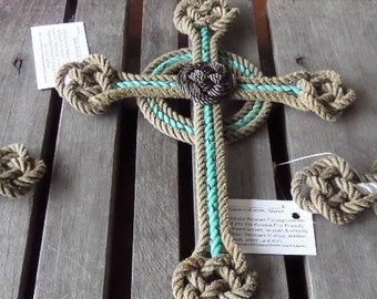 """Easter Knotted Cross 16 x 11""""  Choose Color Celtic Knots Recycled Rope Easter Christmas Nautical"""