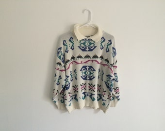 1980s SOUTHWESTERN hipster sweater / geometric / aztec / tribal / 80s oversized slouchy sweater