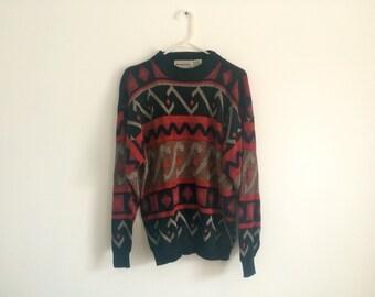 1980s Southwestern Geometric Hipster Ethnic Tribal Sweater