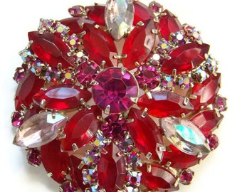 Vintage Ruby Red Rhinestone Brooch Pin Aurora Borealis Unsigned
