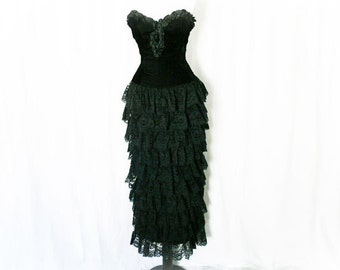 Vintage 80s Ruffled Maxi Dress XS S Black Lace Strapless McClintock
