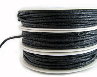 Waxed Cord : 20 feet Charcoal 1.5mm Waxed Cord String / Bracelet Cord / Macrame Cord / Chinese Knotting Cord / Shamballa Cord 93405