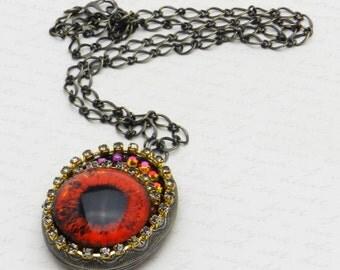 Blood Orange Dragon Eye Locket with glass eye, black diamond rhinestone chain and Volcano Swarovski Crystal JF4073